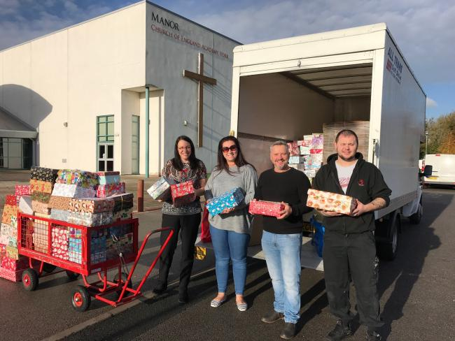 Students and staff at Manor CE Academy have packed up and sent off shoebox Christmas gifts to children and young people in Romania, who wouldn't otherwise receive any presents at Christmas.